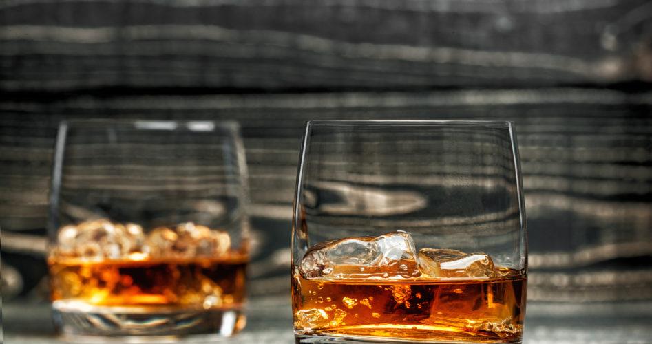 glass of hard liquor